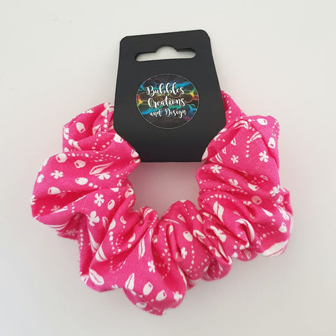 Hot Pink and White Pattern - Scrunchie