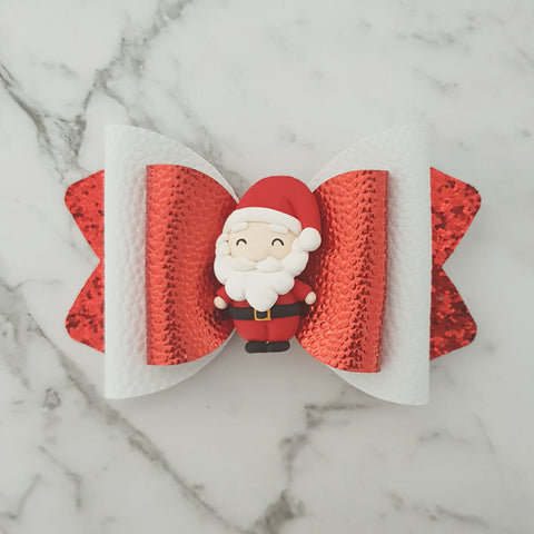 Christmas Santa -Clay Bow