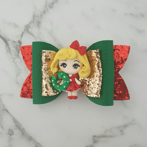 Blonde Christmas Girl -Clay Bow