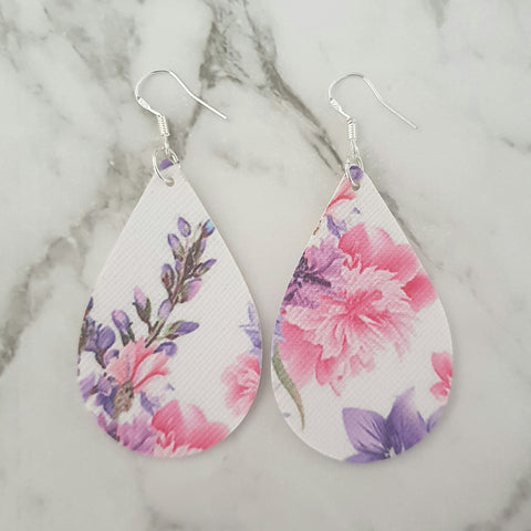 Pink and Purple Florals Teardrop Earrings