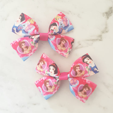 Princesses Pink RIBBON HAIR CLIPS
