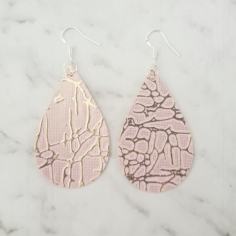 Dusty Pink and Gold Crackle Teardrop Earrings