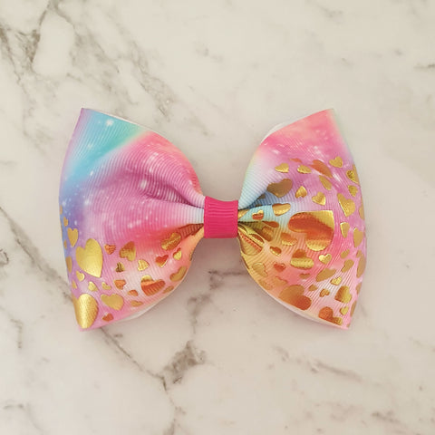 "Rainbow Gold Hearts ""Tux"" Style Bow"