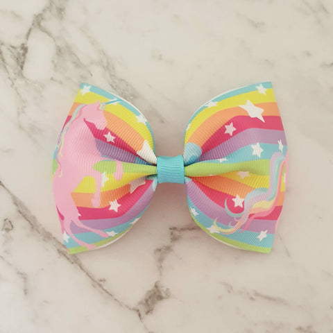 "Rainbow Unicorn ""Tux"" Style Bow"