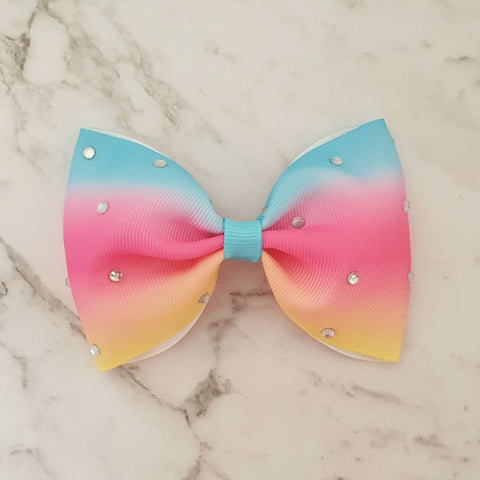 "Rainbow Bling ""Tux"" Style Bow"