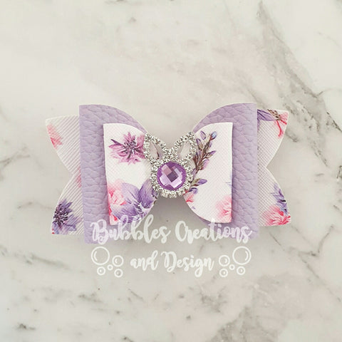 "Bunny Bling - Purple ""Lux Maria"" Style Bow"