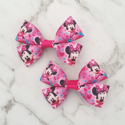 Minnie Mouse (dark pink) RIBBON HAIR CLIPS