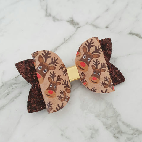 "Brown Reindeers - Christmas ""Maria"" Style Bow"