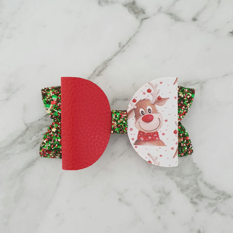 "Reindeer - Christmas ""Maria"" Style Bow"