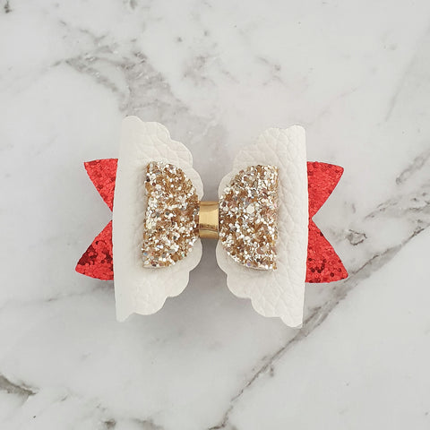 Red, White & Gold - Scalloped Bow