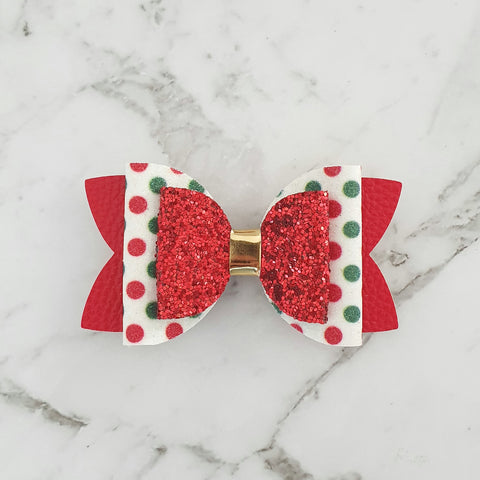 "Spots on Red ""Lux Maria"" Style Bow"