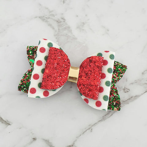 "Spots on Green ""Lux Maria"" Style Bow"