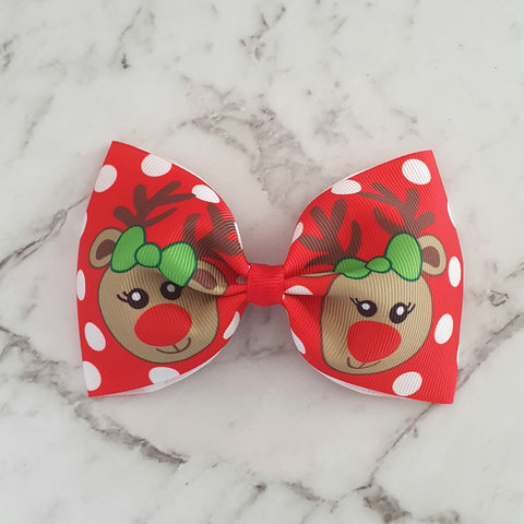 "Red Reindeers ""Tux"" Style Bow"