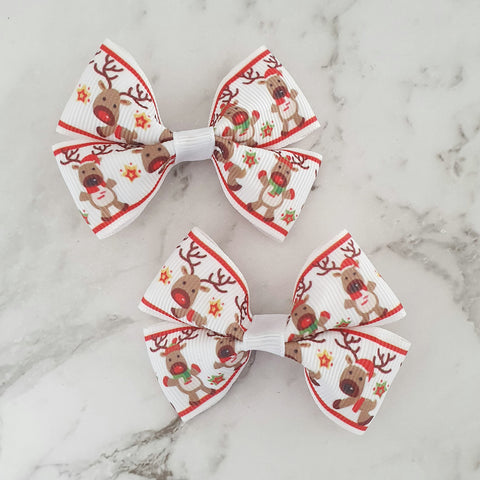 Reindeers and Rudolph RIBBON HAIR CLIPS