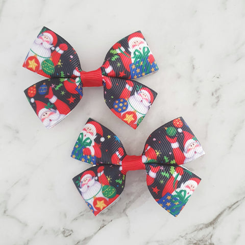 Santa and Presents RIBBON HAIR CLIPS