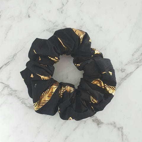 Black with Gold Feathers - Scrunchie