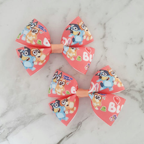 Bluey in Pink RIBBON HAIR CLIPS