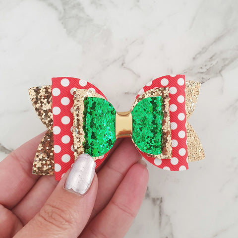"Red Spots on Gold ""Lux Maria"" Style Bow"