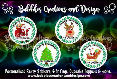 Personalised Christmas Stickers - Santa, Tree, Reindeer & Sleigh