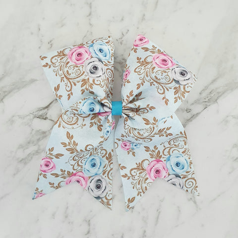 "Blue Floral ""O.T.T. CHEER"" Style Bow"
