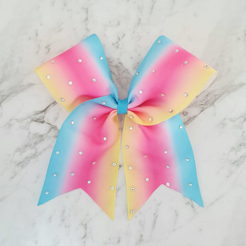 "Rainbow Bling ""O.T.T. CHEER"" Style Bow"