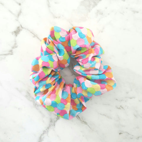 Rainbow Spots with Silver Flecks - Scrunchie