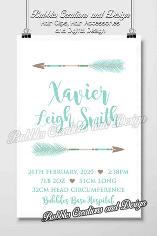 Arrows Birth Details Design- Personalised