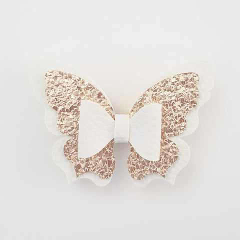 White and Rose Gold Butterfly Bow