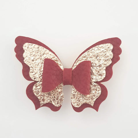 Wine Red and Gold Butterfly Bow