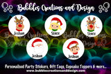 Personalised Christmas Stickers - Santa, Rudolph's & Children (round)
