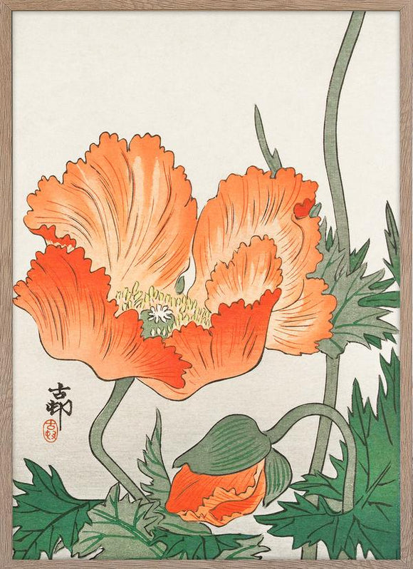Japanse print orange flower