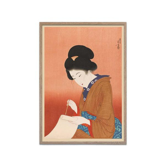 Japanse print writing woman