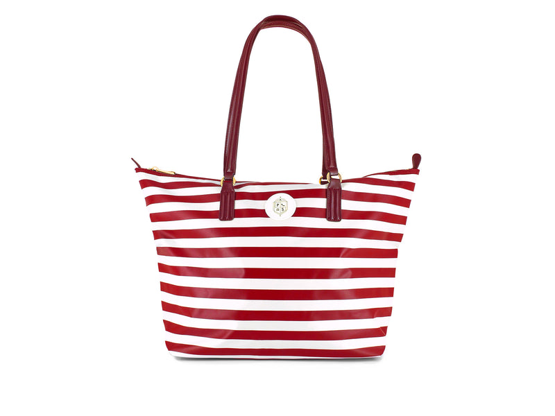 VERONICA TOTE BAG RED~WHITE STRIPE