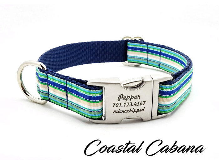 Coastal Cabana Dog Collar with Laser Engraved Personalized Buckle