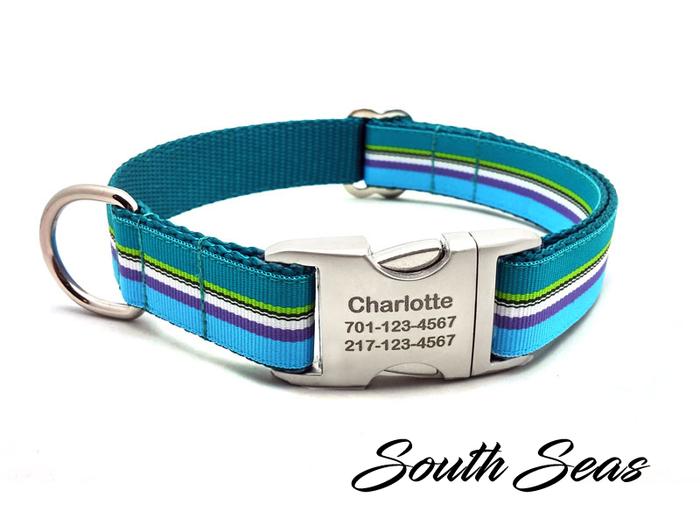 South Seas Dog Collar with Laser Engraved Personalized Buckle