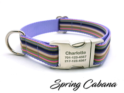 Spring Cabana Dog Collar with Laser Engraved Personalized Buckle - Flying Dog Collars