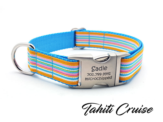 Tahiti Cruise Dog Collar with Laser Engraved Personalized Buckle