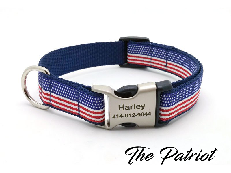 The Patriot Dog Collar with Laser Engraved Personalized Buckle - Flying Dog Collars