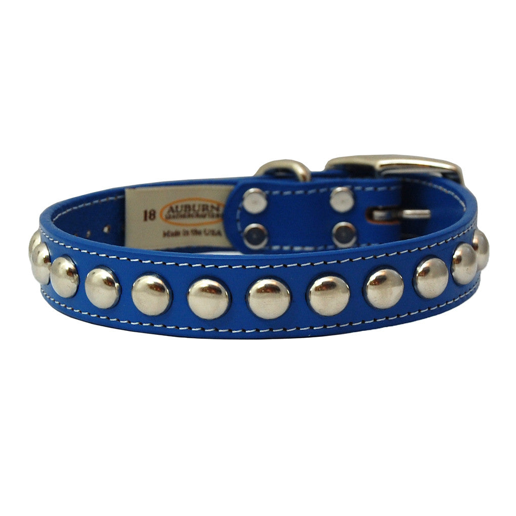 Silver Studded Bridle Leather Dog Collar