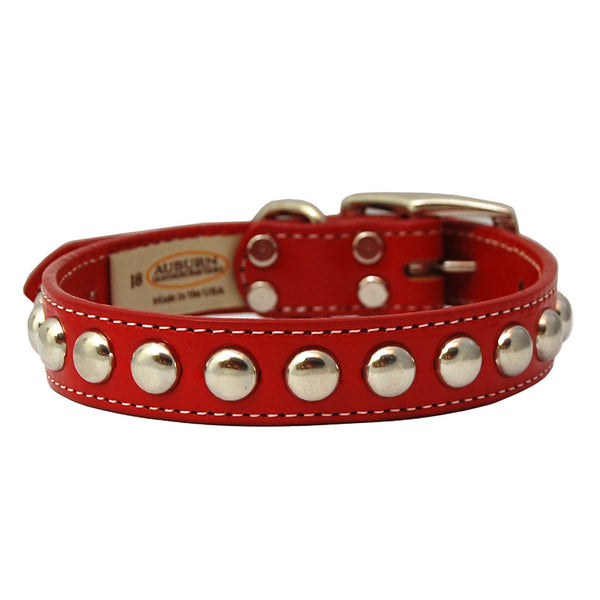 Silver Studded Bridle Leather Dog Collar - Flying Dog Collars