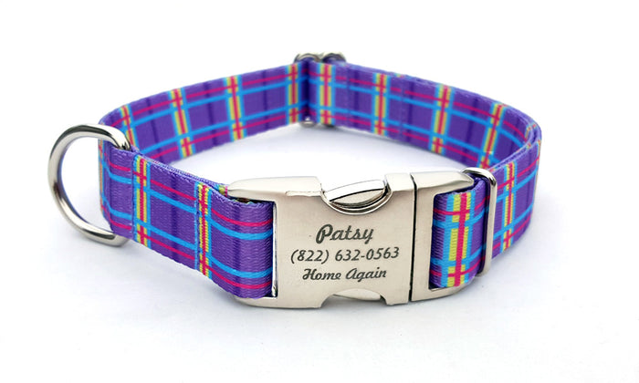 Spring Plaid Polyester Webbing Dog Collar with Laser Engraved Personalized Buckle - PURPLE