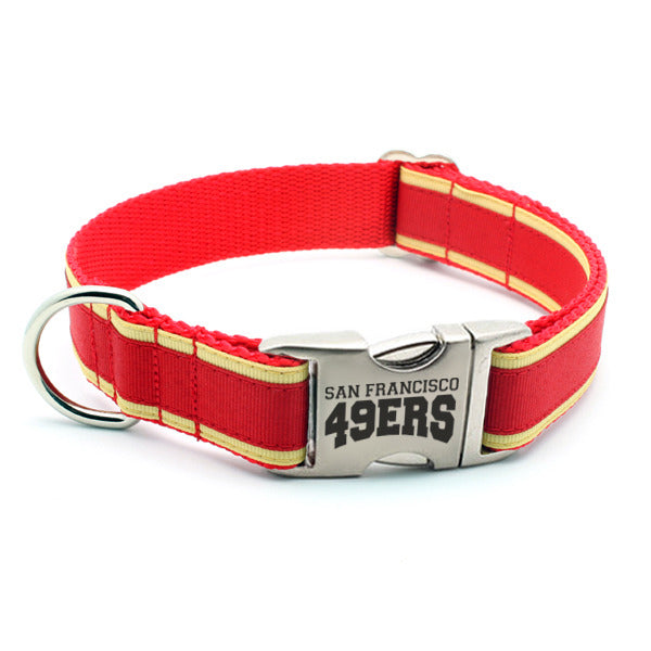San Francisco 49ers Dog Collar with Laser Etched Aluminum Buckle - Flying Dog Collars