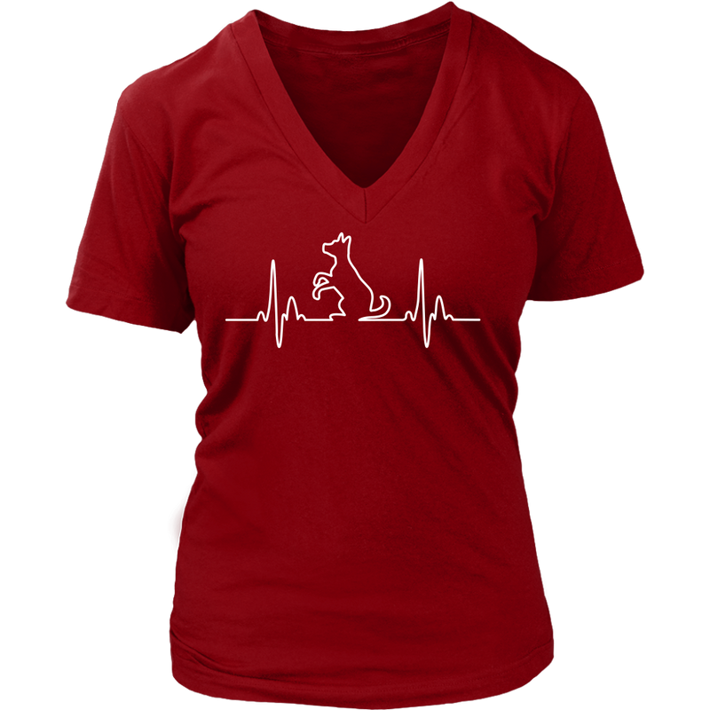 Dog Heartbeat Ladies V-Neck - Flying Dog Collars