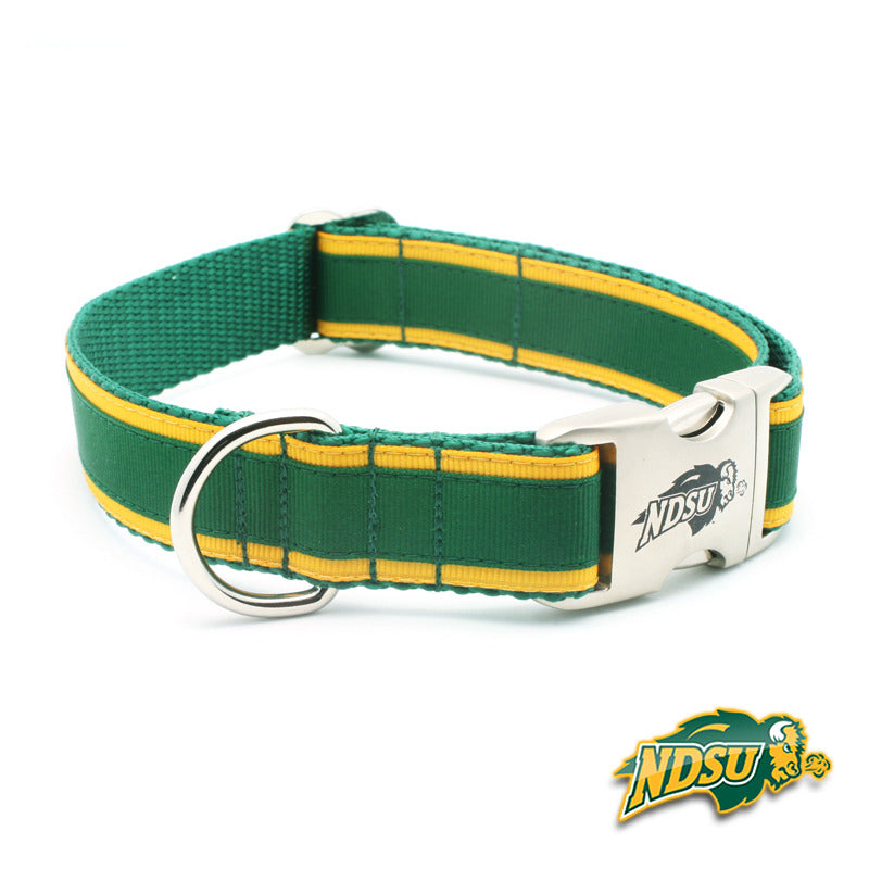 NDSU Bison Premium Dog Collar with Laser Etched Buckle