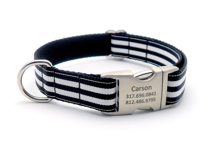 Cabana Stripe Dog Collar with Laser Engraved Personalized Buckle - BLACK - Flying Dog Collars