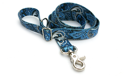 Blue Paisley Polyester Adjustable Handle Leash