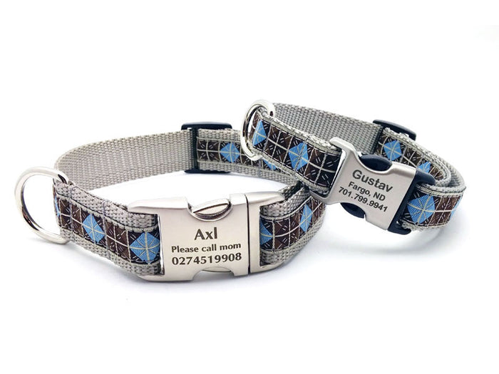 Blue & Brown Diamonds Dog Collar with Personalized Buckle - Flying Dog Collars