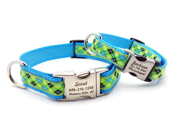 ... Blue Argyle Dog Collar with Personalized Buckle – Flying Dog Collars