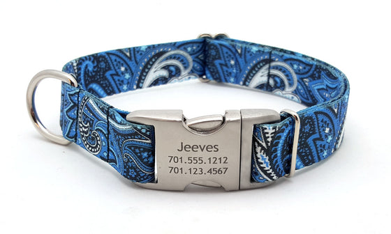 Blue Paisley Polyester Webbing Dog Collar with Laser Engraved Personalized Buckle