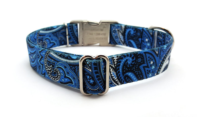 Blue Paisley Polyester Webbing Dog Collar with Laser Engraved Personalized Buckle - Flying Dog Collars